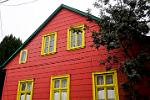 brightly painted wooden house