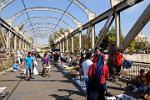 street market on a bridge over the river Mapocho