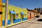brightly painted houses, typical of Valparaiso
