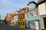 colourful houses in Odense, capital city of the island