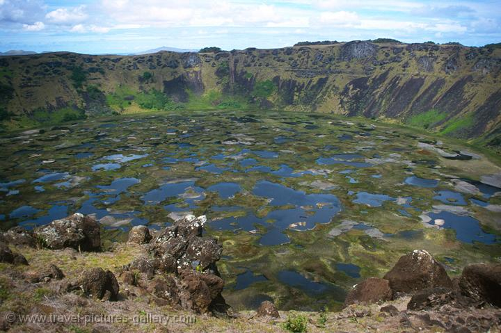 Pictures of Chile- Rapa Nui- Easter Island - the caldera at Rano Kau