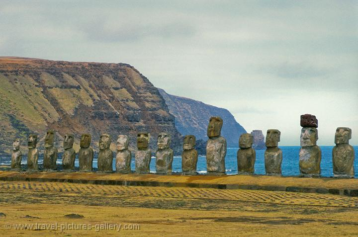 Pictures of Chile- Rapa Nui- Easter Island - Ahu Tongariki, cliffs of the Poike Peninsula.