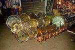 copper and brass plates, shopping at the night bazaar