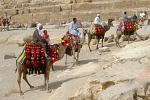 camel drivers offering a ride at the Great Pyramids of Giza