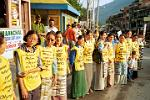Tibetan people protesting against the Beijing Olympics