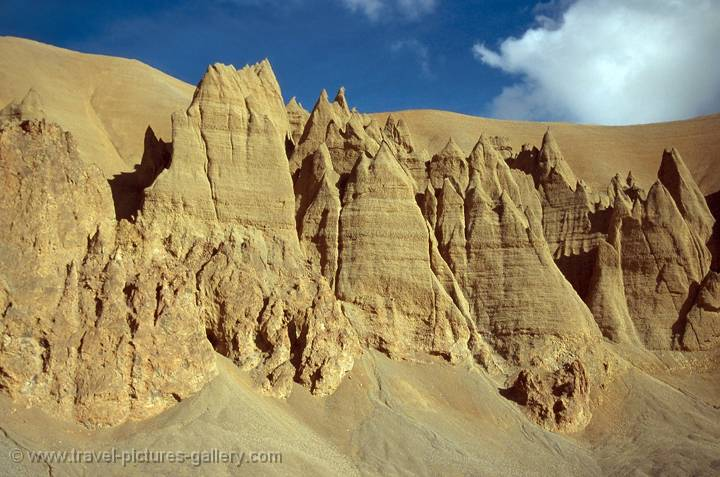 eroded towers on the road to Leh, Ladakh, India