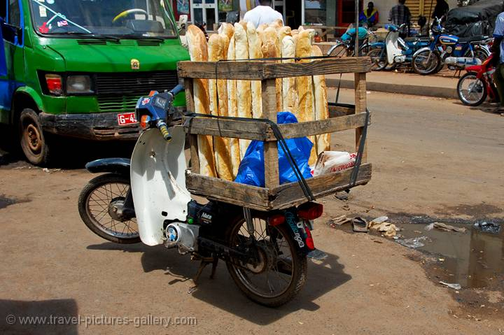 bread delivery moped, French bread
