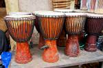 Djembe, the traditional West African drum, at the arts and crafts market