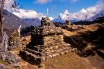 Stupas, symbols of the Buddha, above Namche Bazaar