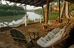 relaxing in a lodge on the Gambia River