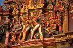 colourful sculptures on the Sri Meenakshi Hindu temple