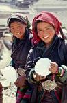 local girls in traditional dress, Tingri