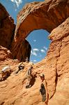 climbing the windows, Arches National Park