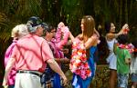 a traditional Hawaiian welcome with a Lei (flower garland)