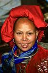 a woman of the Zao People tribe, traditional dress